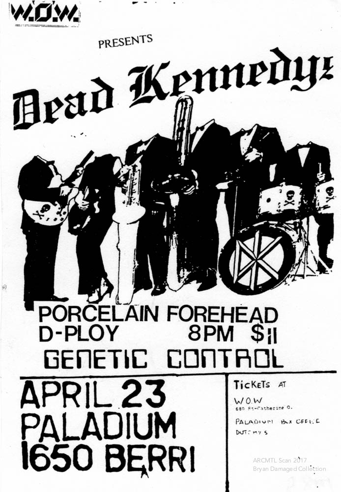 77 mtl exhibit archive montreal 1970s Rock Singers and Bands dead kennedys porcelain forehead d ploy genetic control palladium 1985