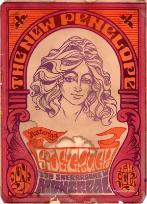 Orange and purple poster advertising a concert